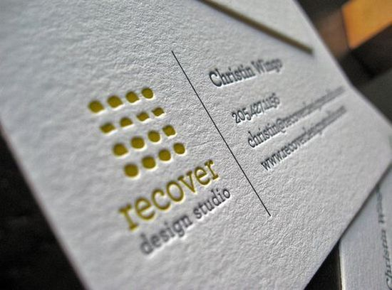 Single Side Card Logo On Left Text On Right Letterpress