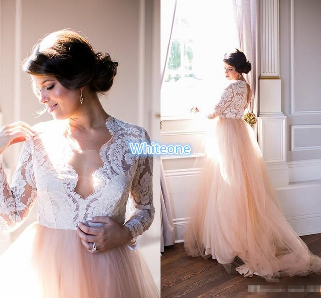 Summer 2016 Long Sleeves Wedding Dresses Lace Top Blush Chapel Train
