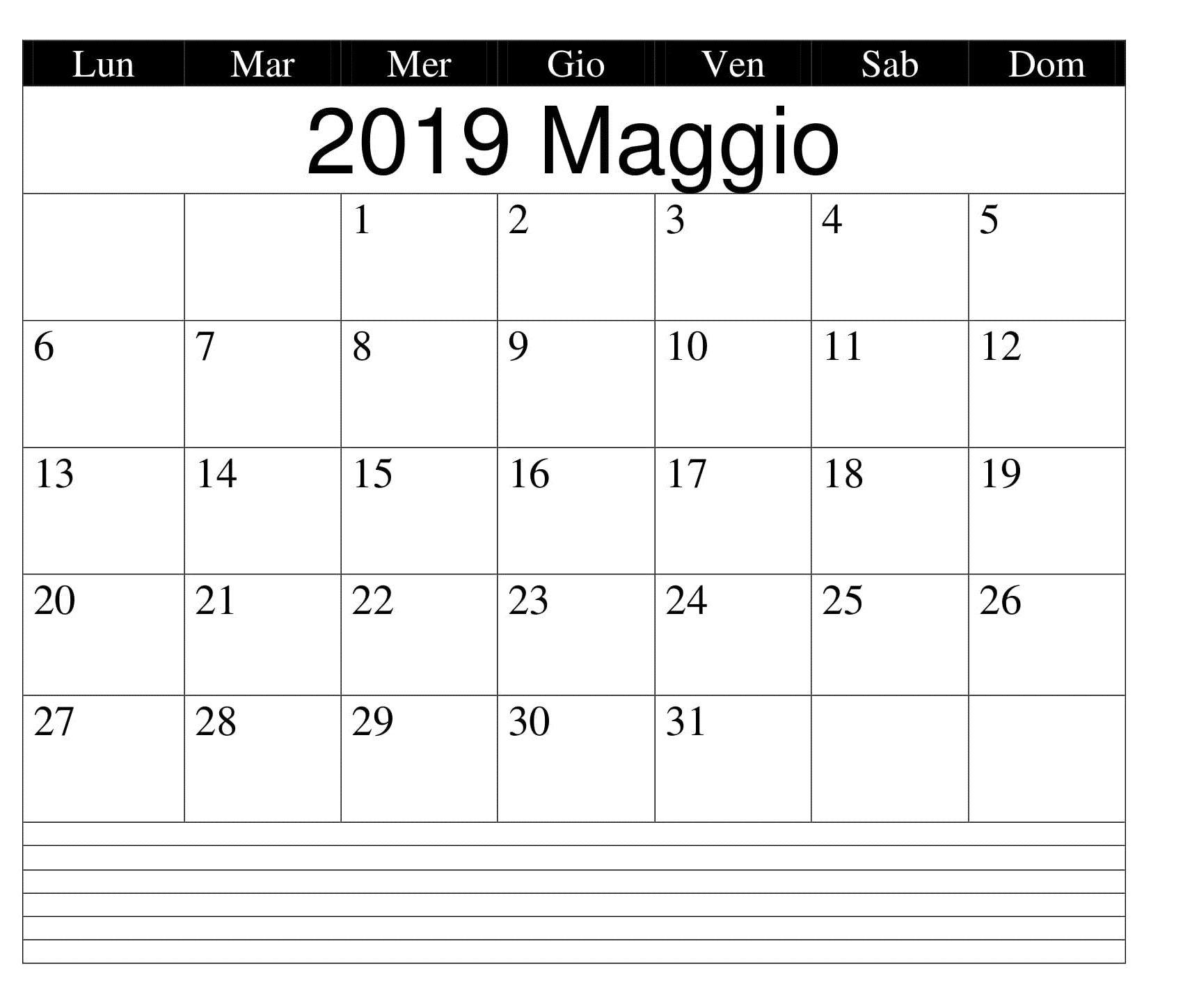 Calendario Word 2019.Maggio Word 2019 Calendario Calendario Maggio 2019 Da Stampare