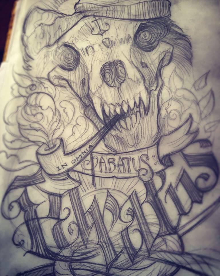 In-omnia-paratus-new-school-tattoo-design