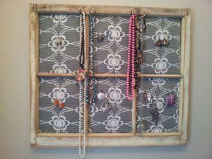 Jewelry Organizer reclaimed from old wood window DIY Pinterest
