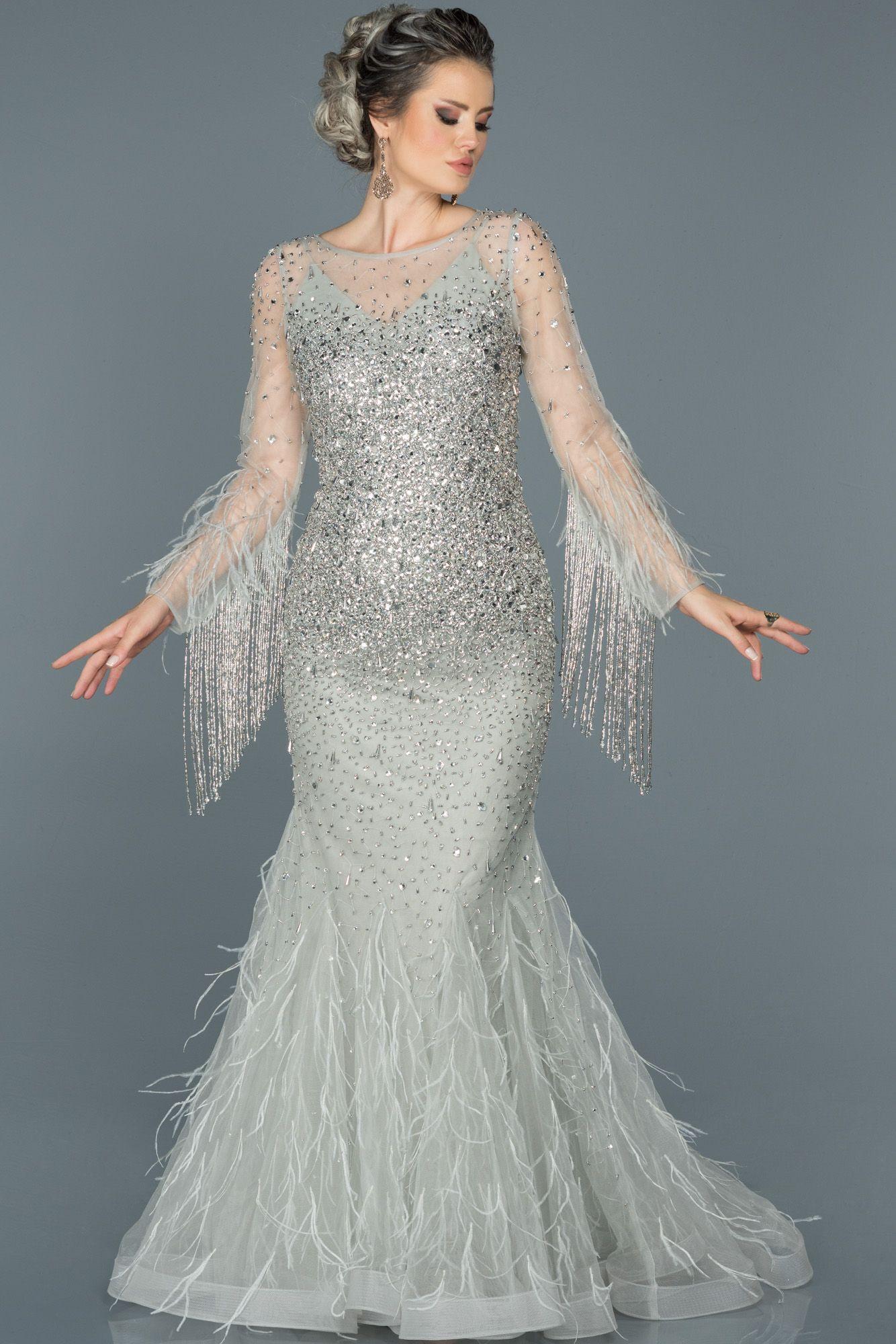 Gri Otris Ve Tas Islemeli Tasarim Abiye Abu421 Gelinlik The Dress Elbise Modelleri