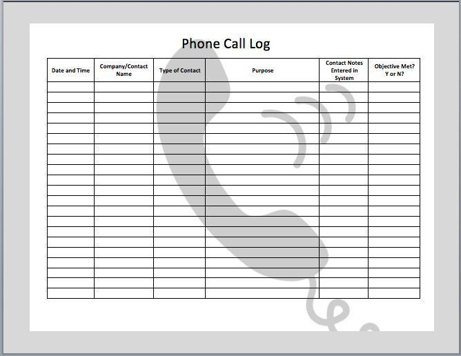 Phone Call Log  Phone Call Log    Logs Ideas Sample
