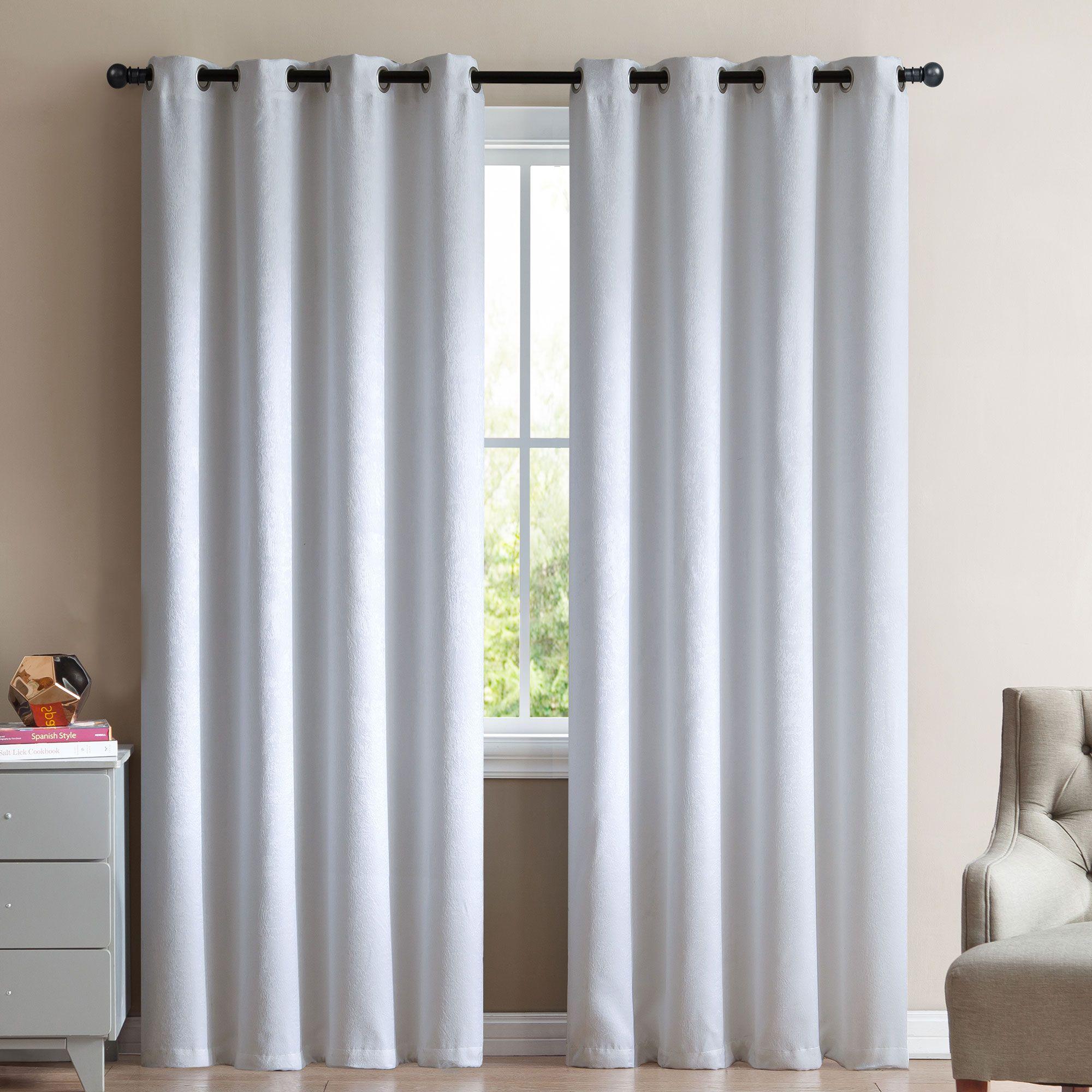 Vcny Marco 2 Blackout Window Curtains 96 White Velour Velvet