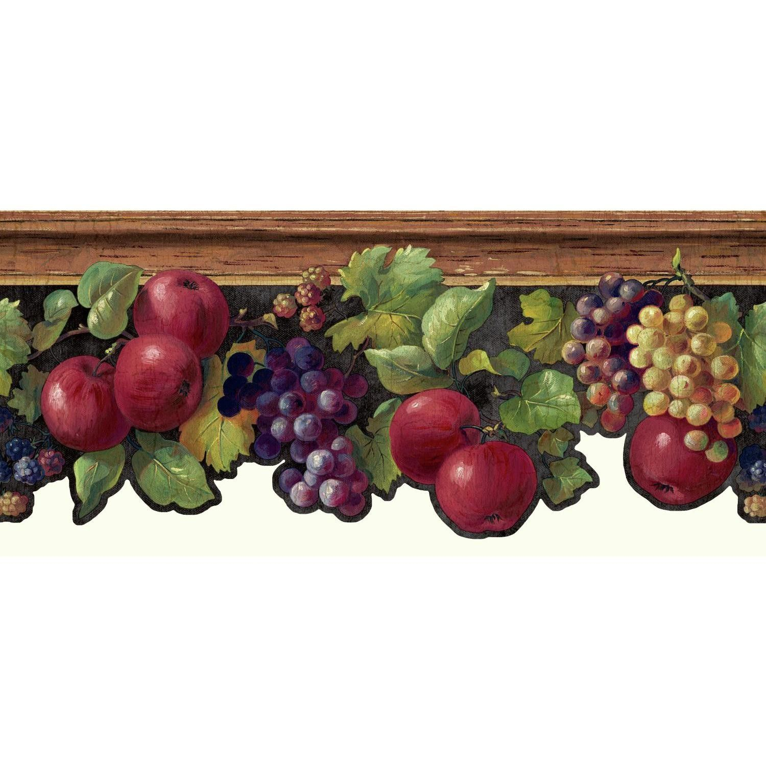 """Kitchen and Bath 15' x 8.75"""" Fruit and Ivy Smooth Border"""
