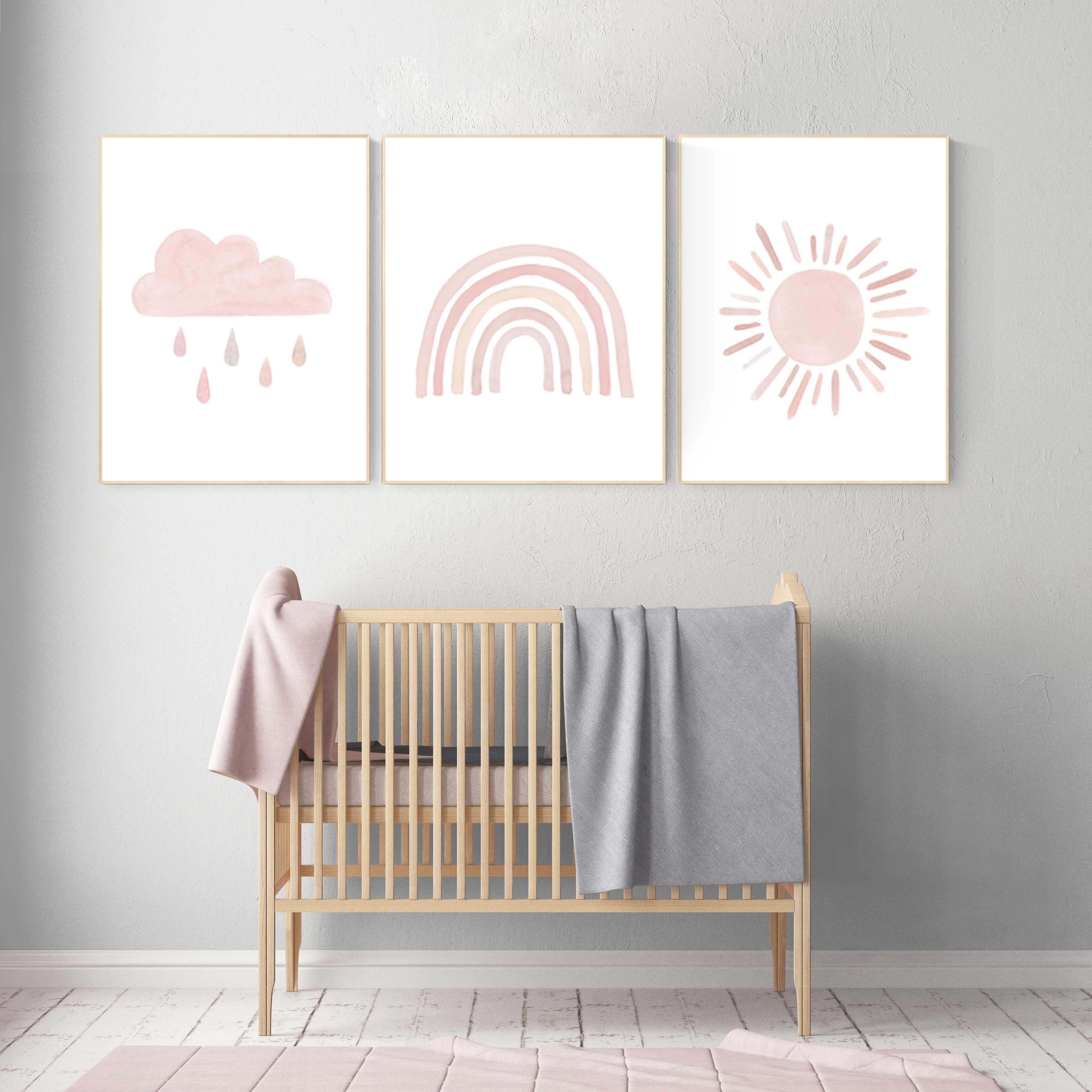 Nursery Prints Rainbow Nursery Decor Girl Nursery Wall Art Blush Pink Moon Star Cloud Nursery Wall Art Light
