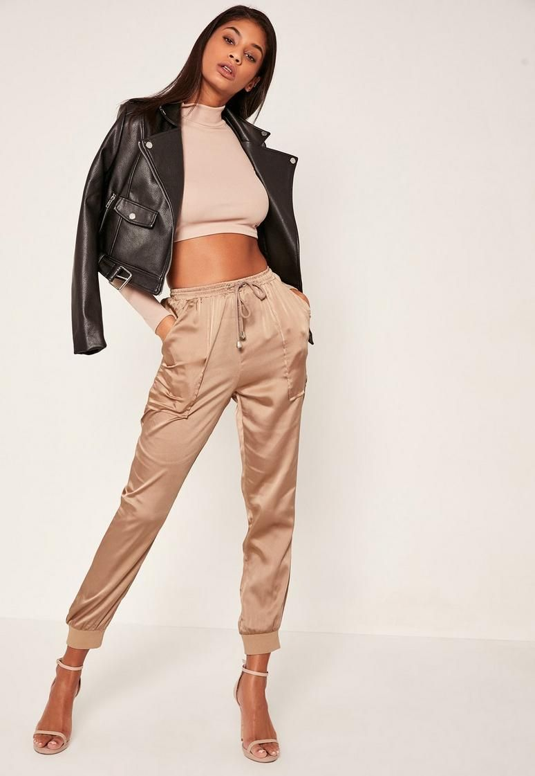 Pantalones 2019 PochesFashion Rose En Avec Satin Or Jogging mnvw08N