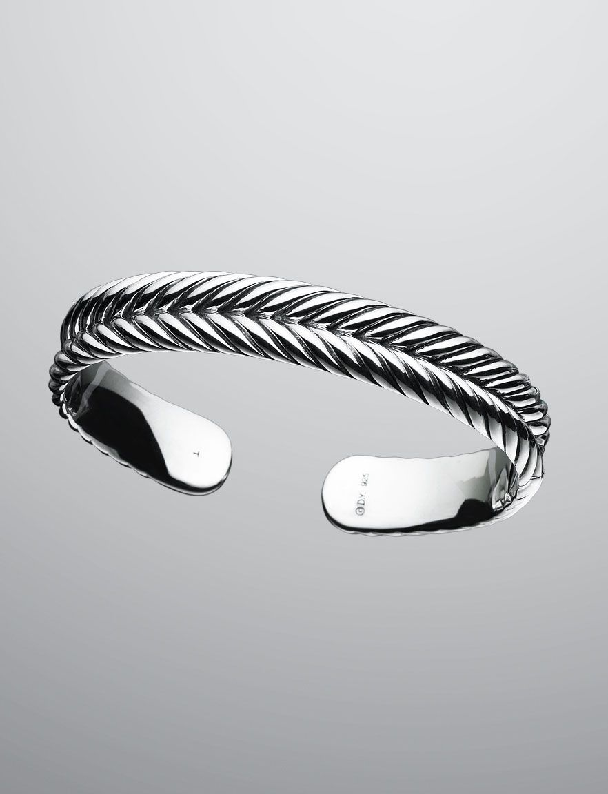 7mm Chevron Cable Cuff Men Bracelets David Yurman Official Mens Jewelry