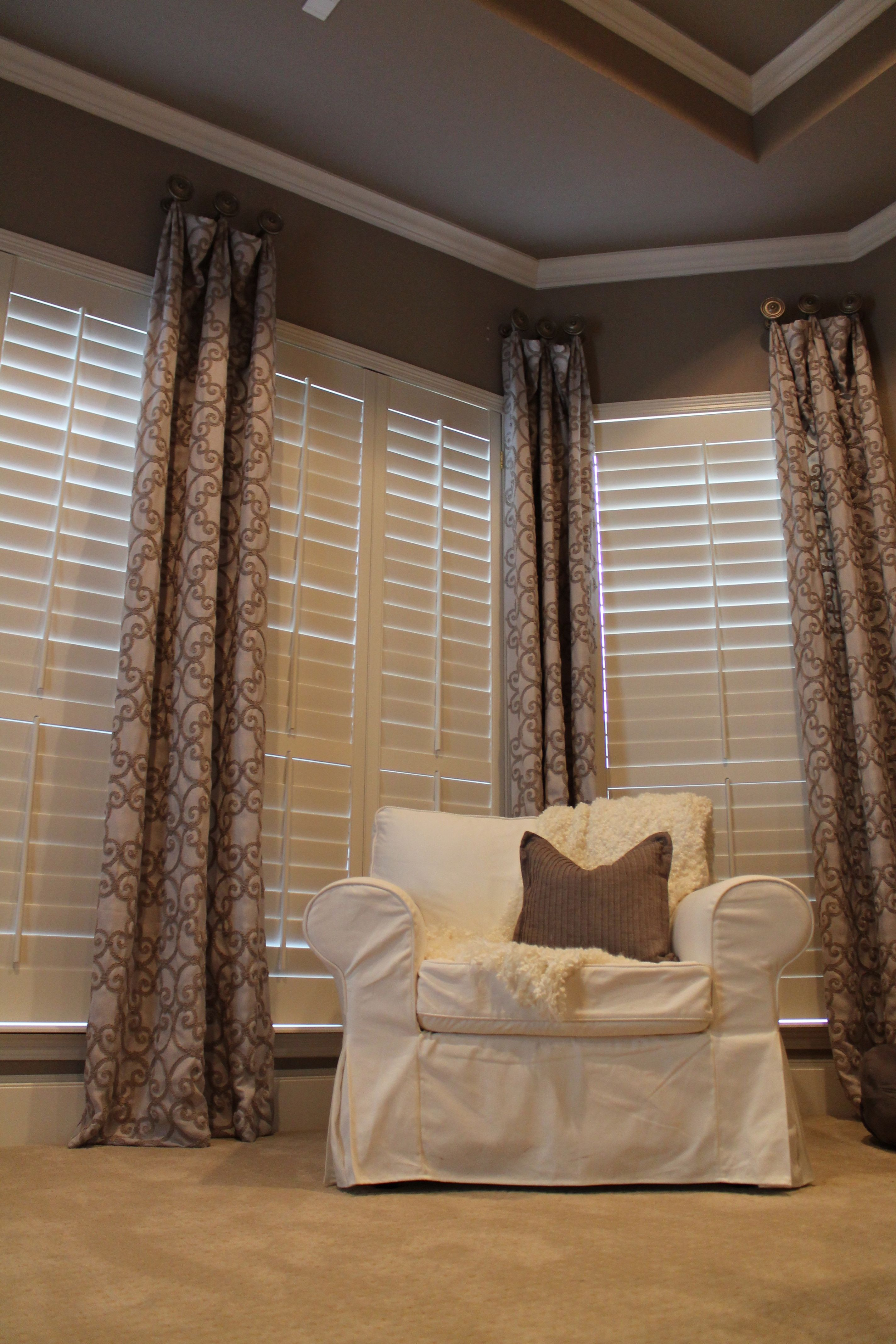 I love the texture of these draperies. Who says shutters