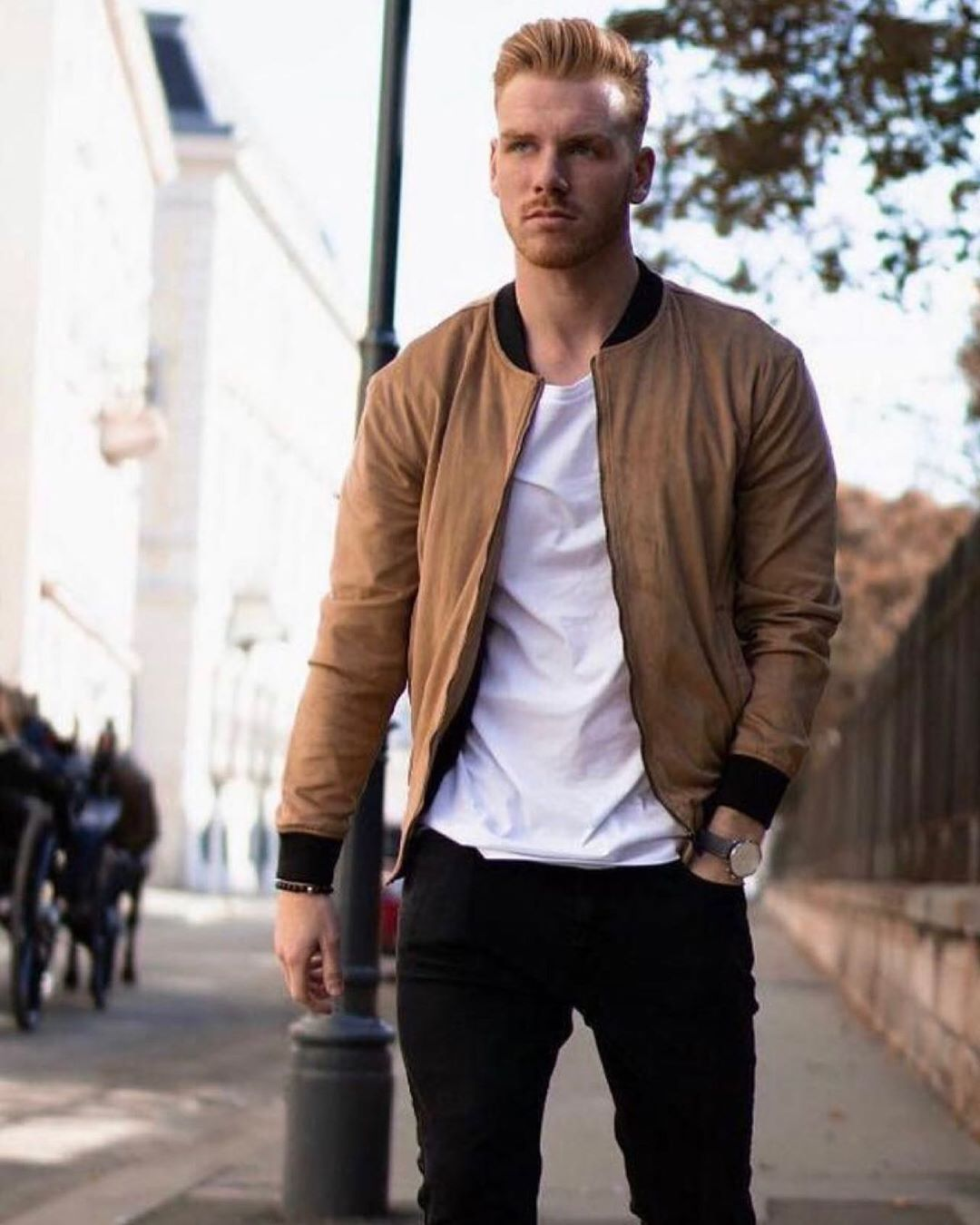 Men S Fashion Or Style Outfit Ideas Bomber Jacket With Simple White Tee And Black Jeans Mens Fashion Summer Mens Fashion Casual Mens Outfits [ 1350 x 1080 Pixel ]