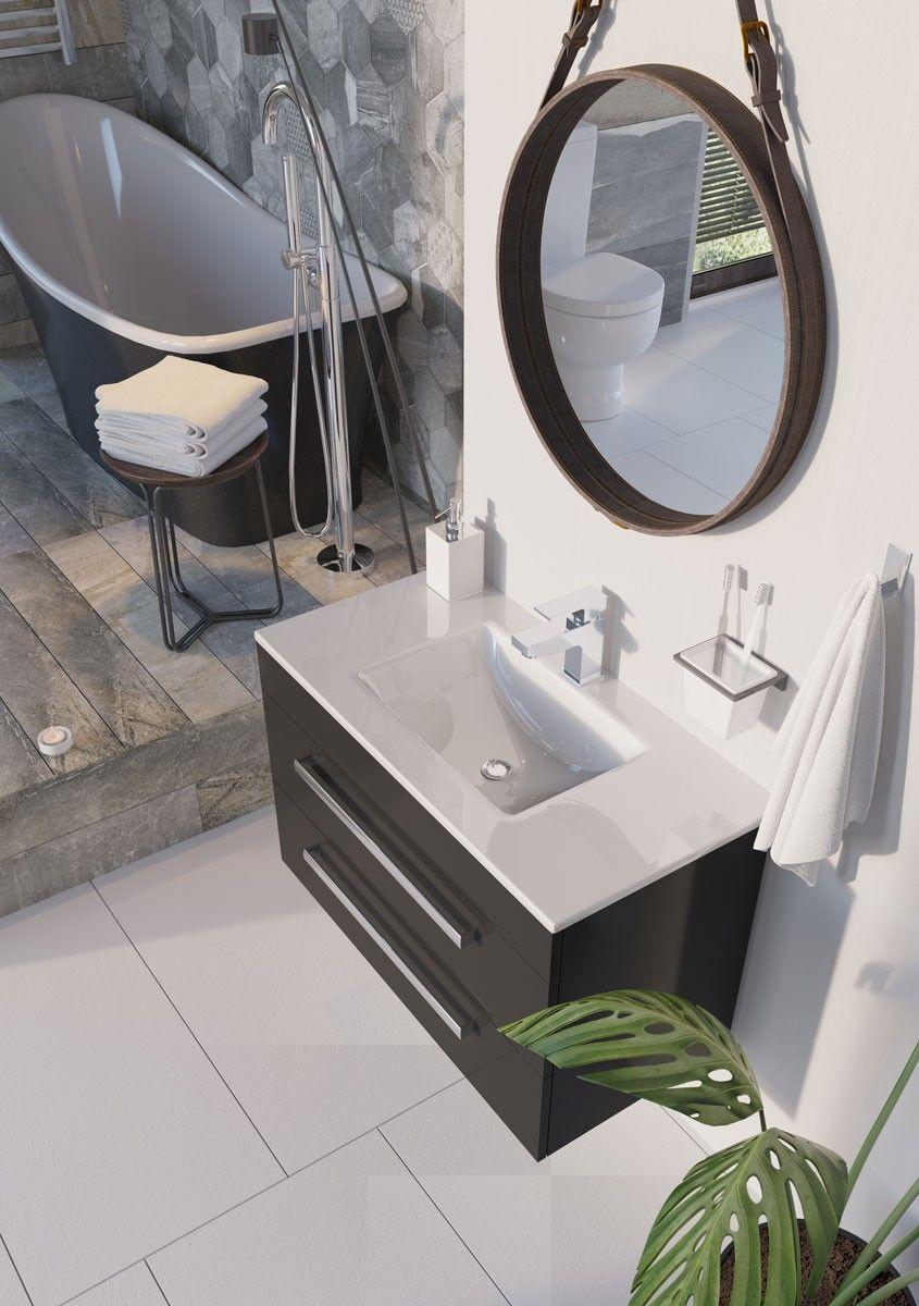 Nante Wall Hung Vanity Unit with Glass Basin and Eton Freestanding Black Bath