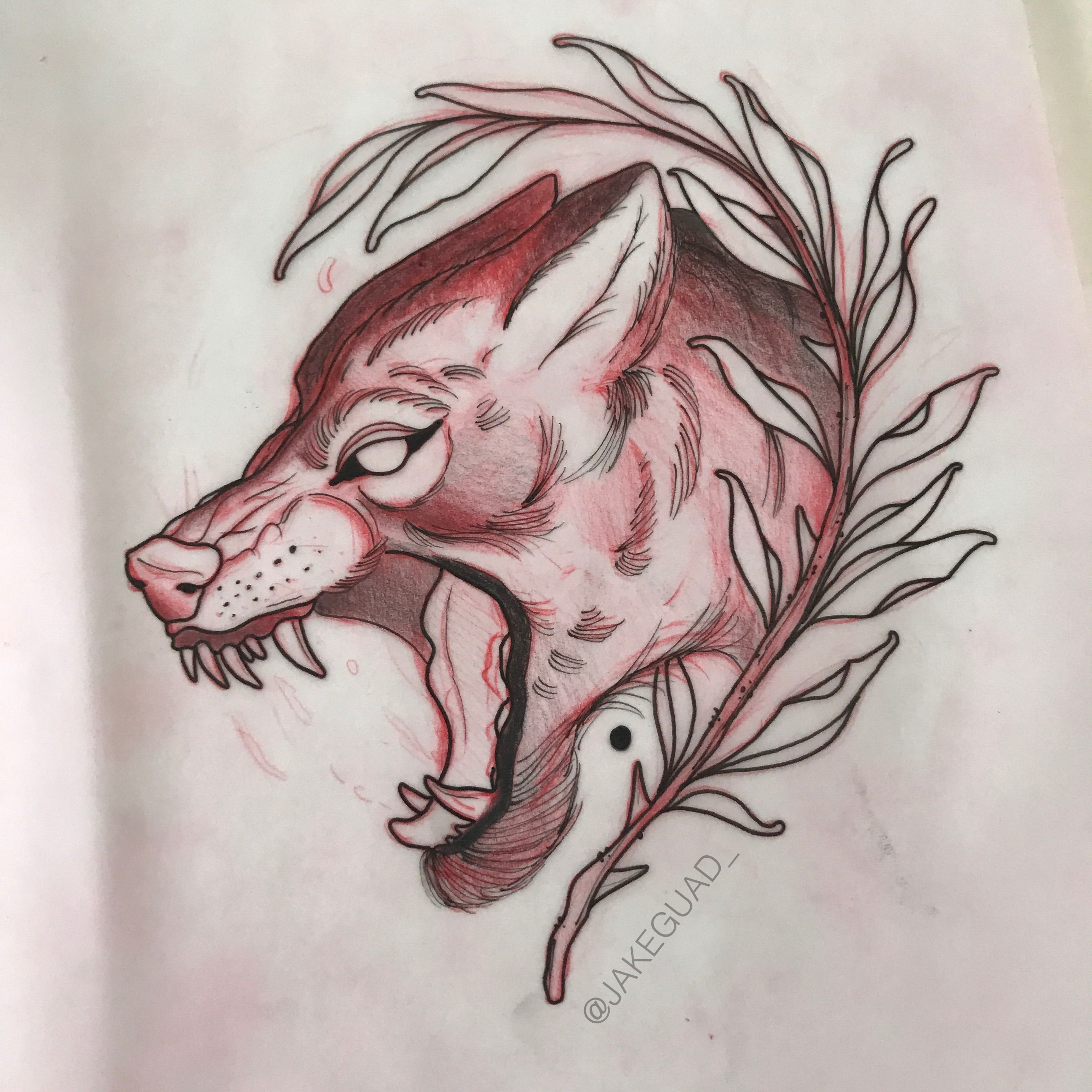 Neo Traditional Wolf Tattoo Design By Jake Guad Wolf Tattoo Design Wolf Tattoo Tattoo Designs