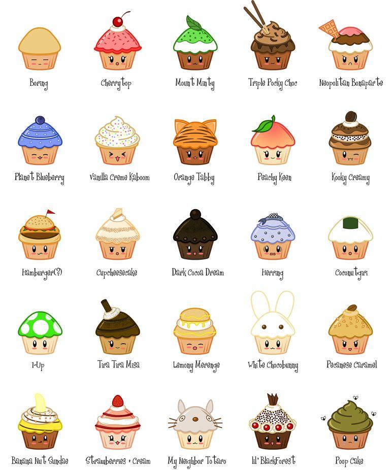 Kawaii cupcakes | dibujos | Pinterest | Kawaii, Dibujos kawaii y Dibujo