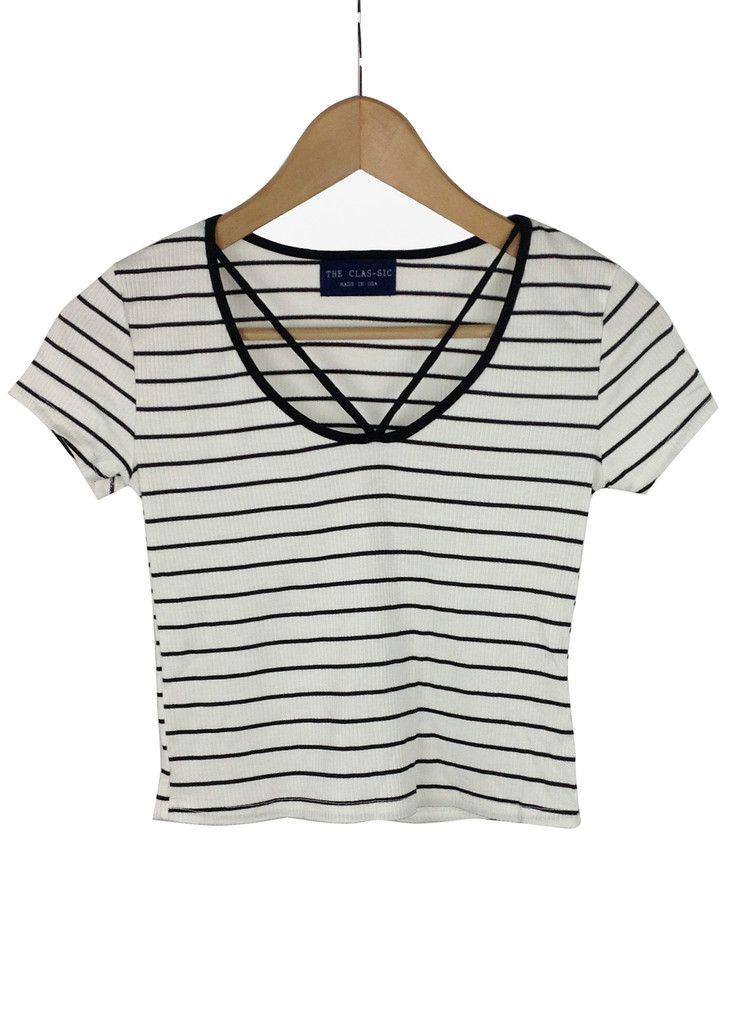 23ed842027 melanie striped crop top (white) | Crop tops | Fashion, Tops ...