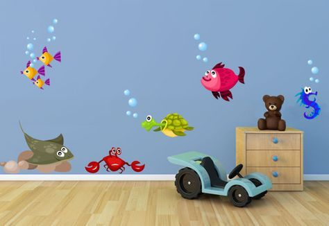 Fish and Sea Creatures Fabric Wall Decal Set by JanetteDesign, $40.00