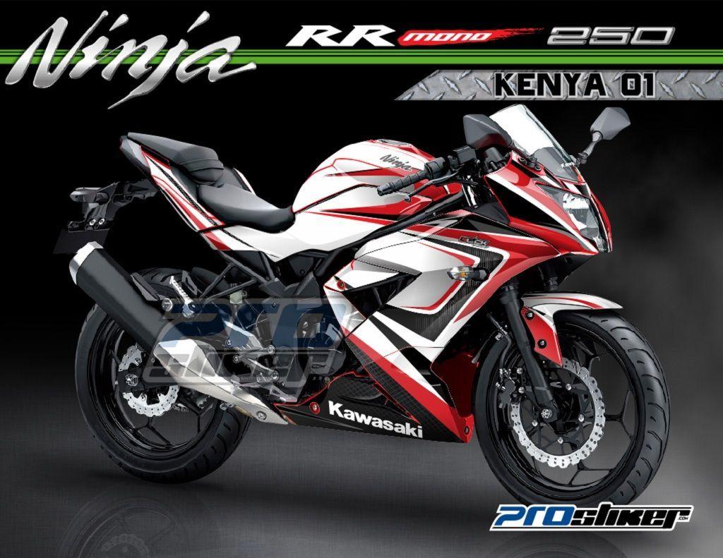 Kawasaki Ninja Rr Mono 250cc Warna Merah Modifikasi Striping Motif