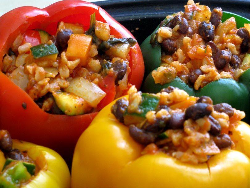 Italian Rice and Black Bean Stuffed Peppers