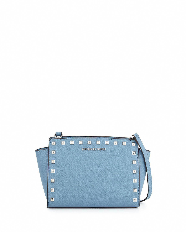 7a4bab78e87a Selma Stud Medium Top-Zip Messenger Bag, Sky (Blue) - MICHAEL Michael