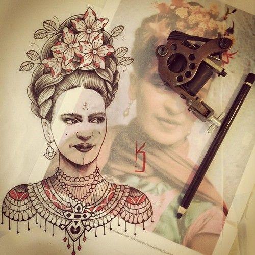 Inspiration frida Kahlo #carolinekarenine #tattoo #illustration #tribalact #paris