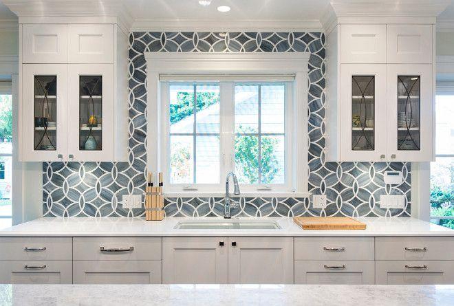 White Kitchen With Blue Gray Backsplash Tile