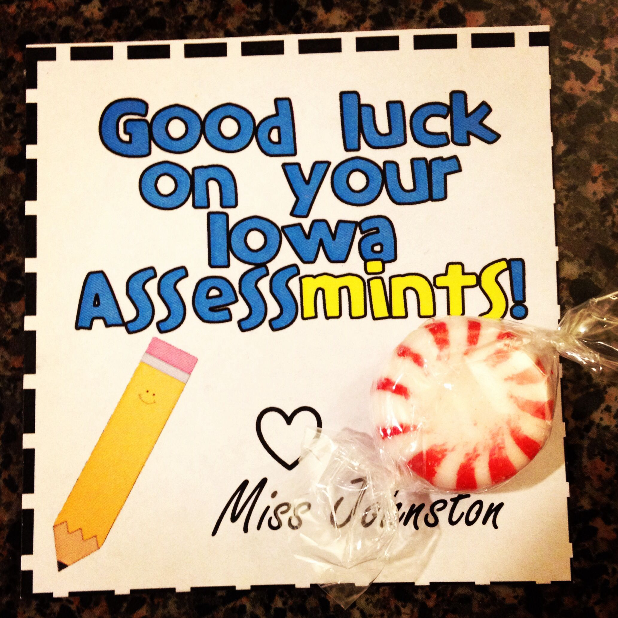 Good luck treat for assessments science classroom