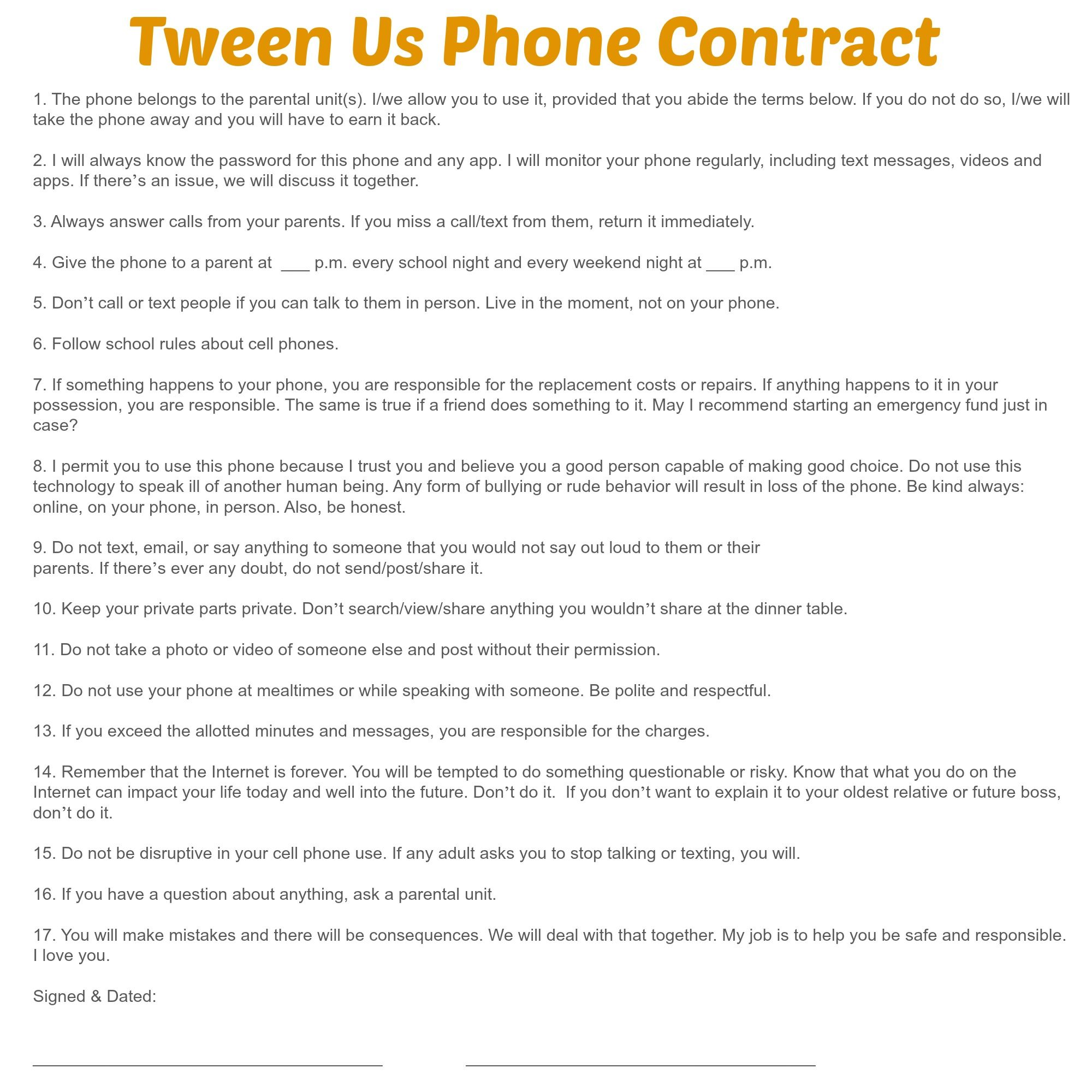 Cell Phone Contract For Tweens Via Theexhaustedmom  Be A Parent