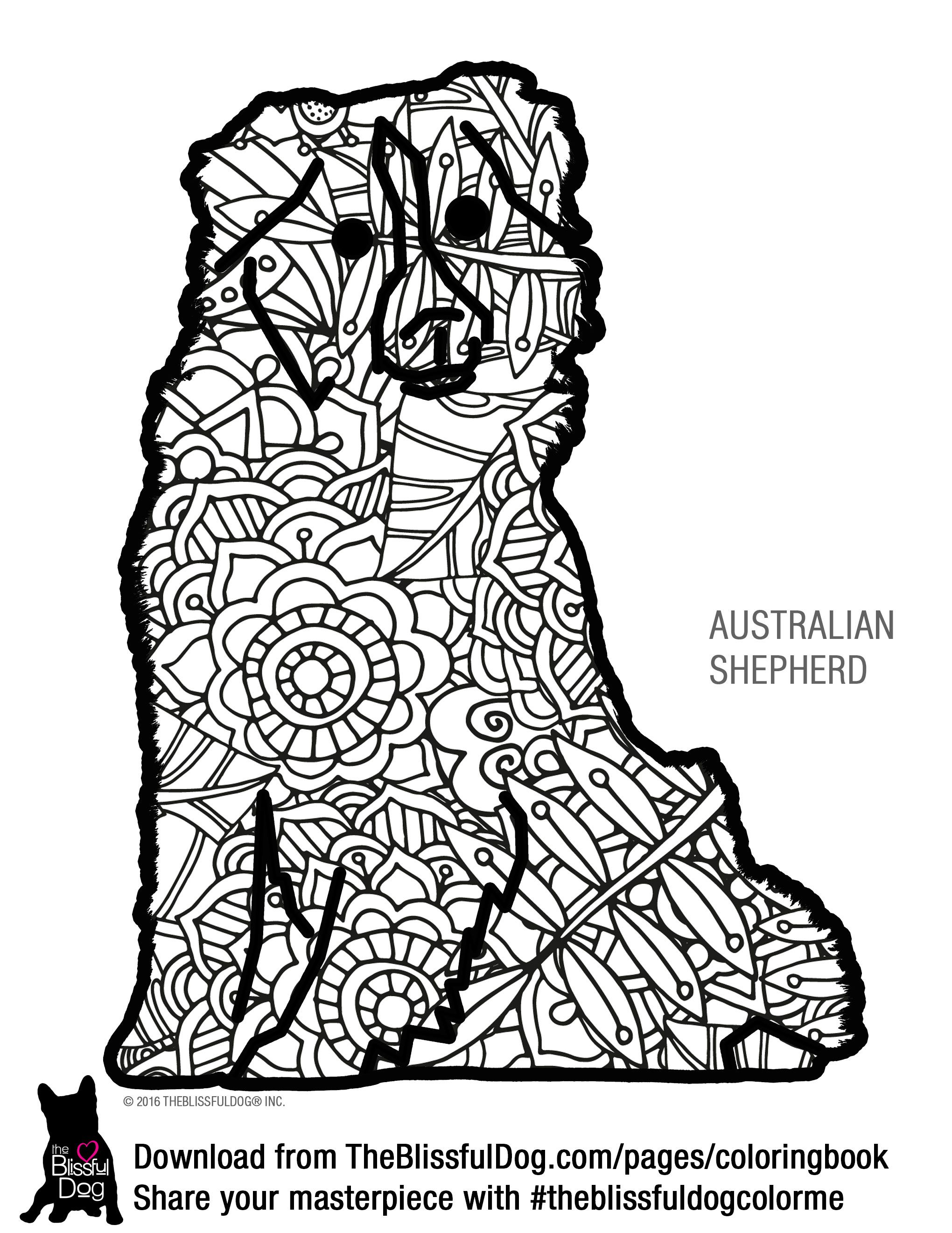 Coloring Book | Australian shepherd, Coloring books and Dog breeds