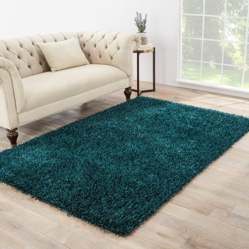 Woodside Teal Blue Shag Area Rug