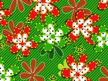 Retro red and green flower background Stock Photos
