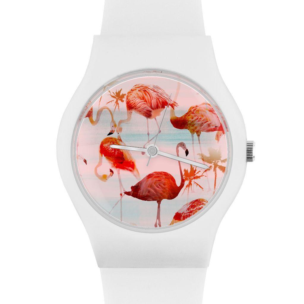 Flamingo Watch with White Strap