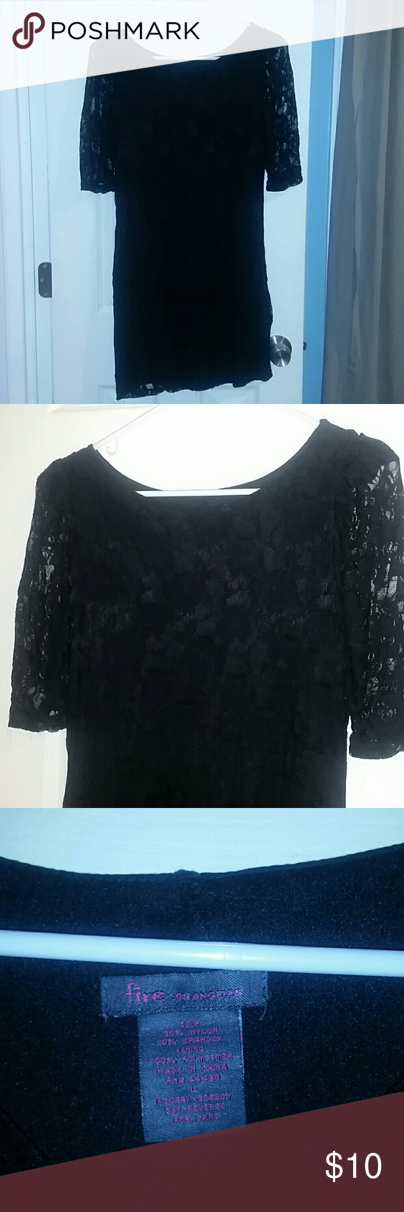 Black lace dress Lace with solid black lining.  Very short. Material stretches. Fire Los Angeles Dresses Mini