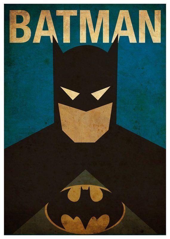 Vintage Minimalist Batman Poster Prints By MyGeekPosters   Boys Room Part 55