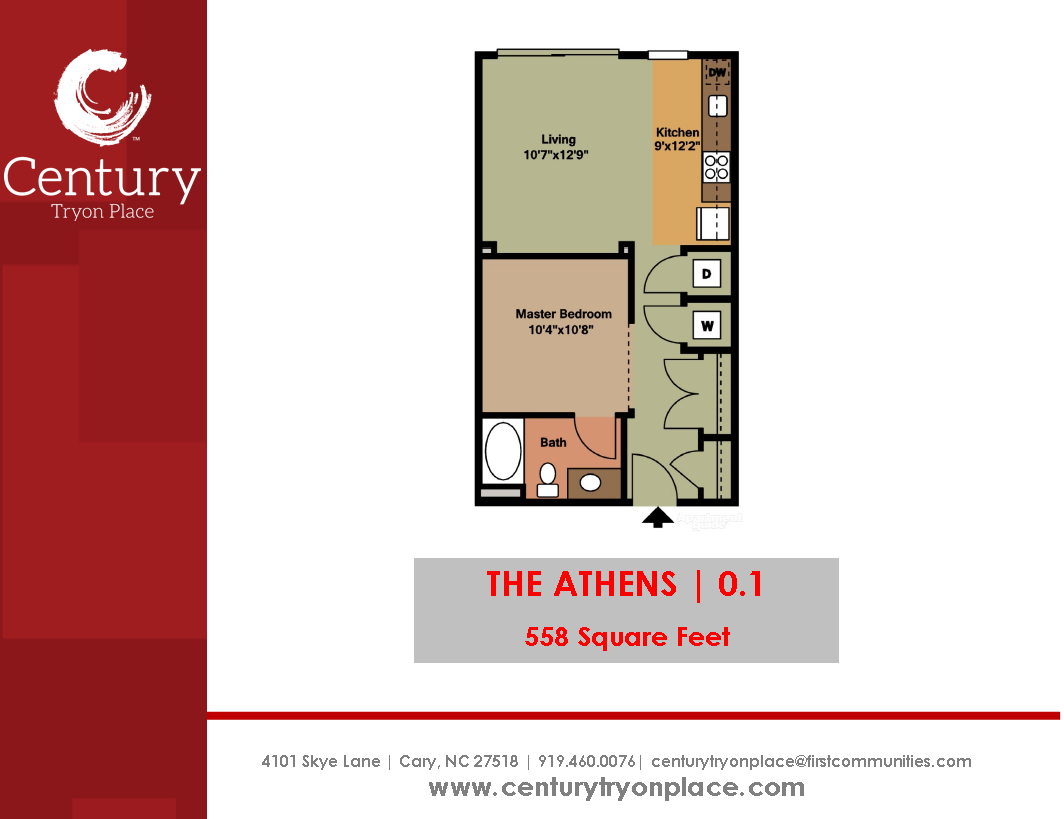 The Athens Is Our Studio Apartment 558 Square Feet Studio Apartments Are Hard To Find In The Raleigh Area So Stop By Centu Unique Floor Plans Century Tryon