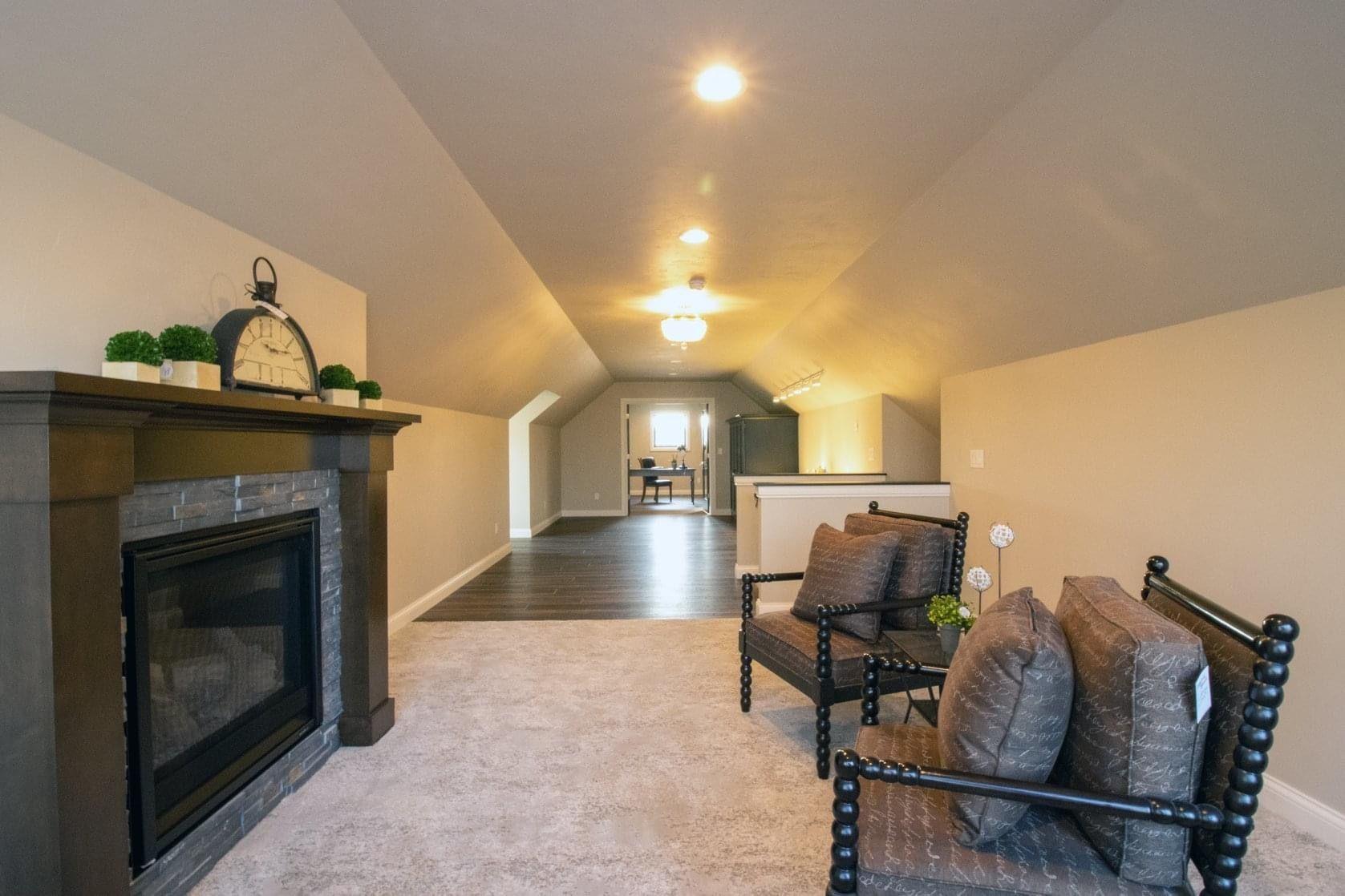 #bonusroom #homeoffice #abovegarage #studiospace #familyspace #interiordesign #homebuilder #colorcabinet #bluecabine #fireplace #hardwoodfloors #newbuild #designideas #finishwork
