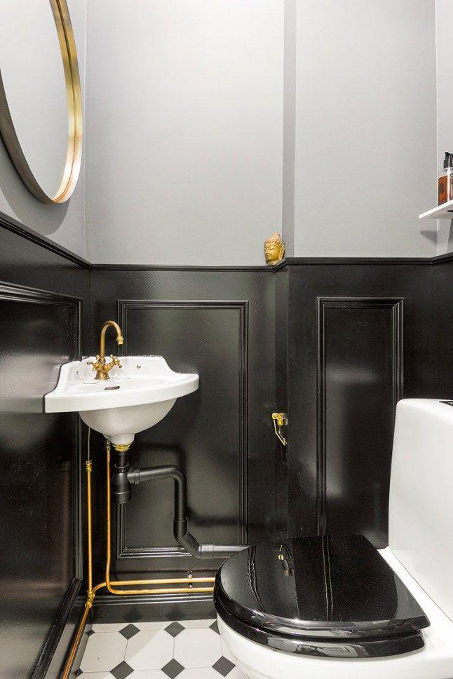 Carreaux De Ciment En Noir Et Blanc Toilette Noir Salle De Bain