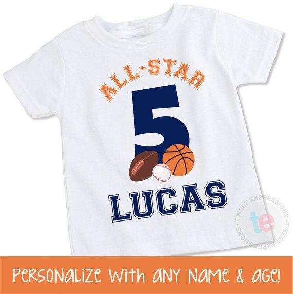 Sports Birthday Shirt Personalized Boy Birthday By