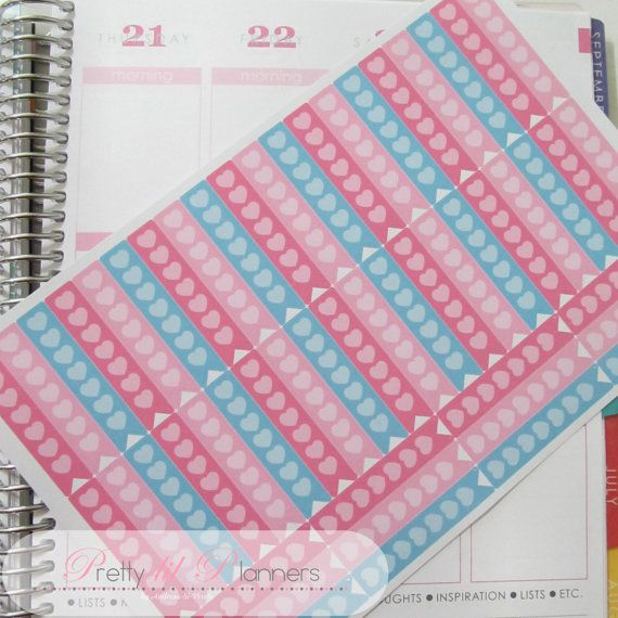 Hearts Checklist Flags-Pinks-Aqua Set of 52 by PrettylilPlanners