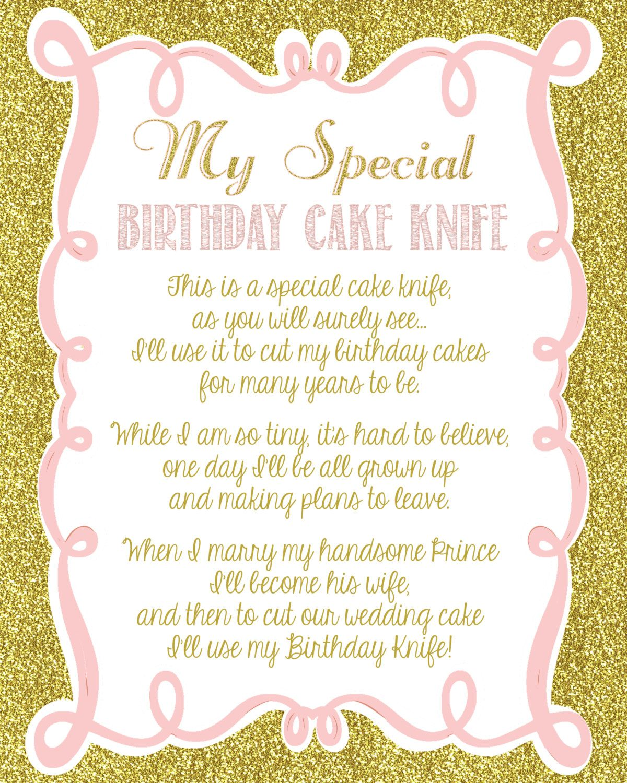 Pink and Gold Glitter Girly Baby Shower Birthday Cake Knife Poem ...
