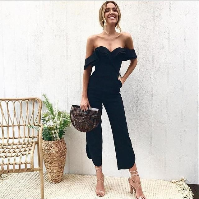 6179a17ff2d Missufe Sexy Off Shoulder Split Wide Leg Rompers For Women Slim Waist Party  Overalls 2018 New Ruffles Strap White Black Jumpsuit
