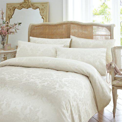 Classic Vantona Distressed Damask Floral Jacquard Bedding Duvet Cover 2 Pillowcase Set Cream Double Size Do Damask Bedding Jacquard Bedding Bed Duvet Covers