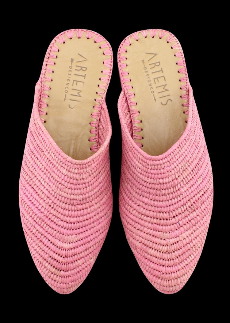 Raffia Babouche Pink Raffia Shoes Crochet Shoes Crochet Flats