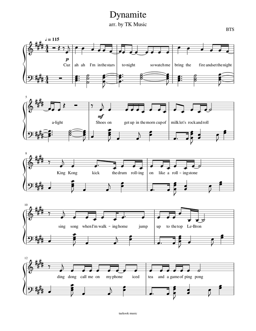 Download And Print In Pdf Or Midi Free Sheet Music For Dynamite By Bts Arranged By Taekook Music For Piano Piano Music Easy Violin Music Piano Sheet Music Free