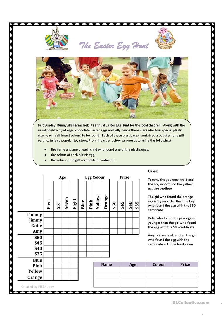 graphic relating to Logic Puzzles Printable Worksheets identified as Easter Egg Hunt Logic Puzzle worksheet - No cost ESL printable