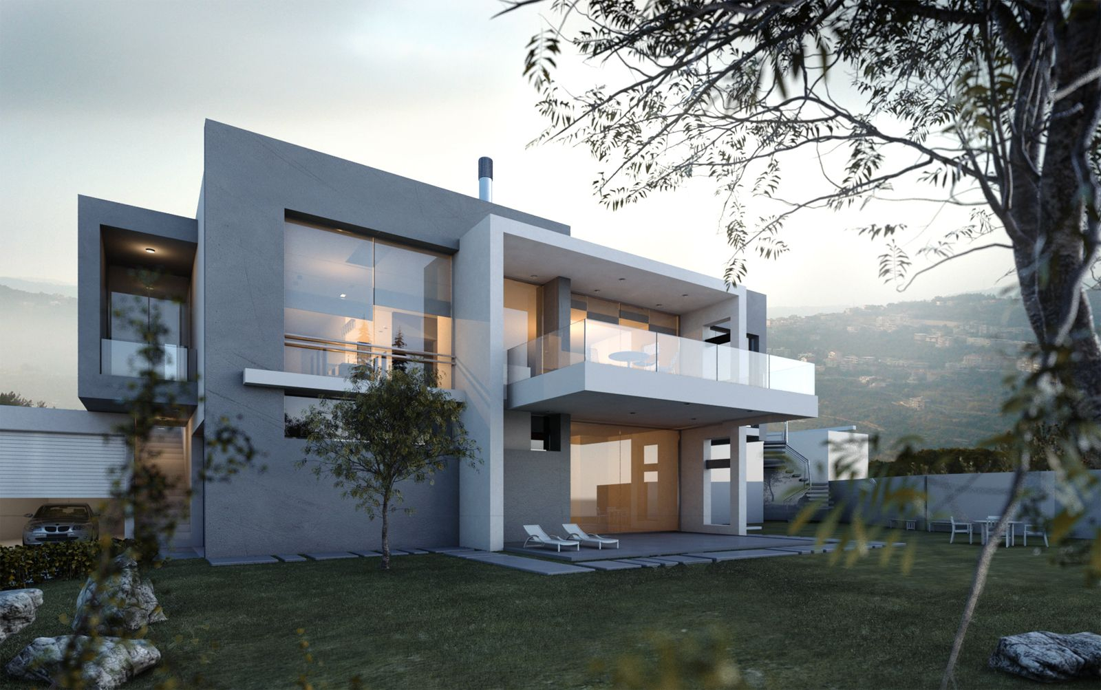 Small villa lebanon by wassim alam architecture 3d for Modern house lebanon