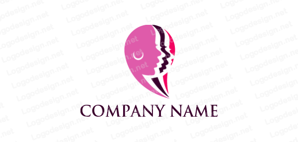 Woman Side Profile Layers Forming Speech Bubble Logo Design Template Logo Design Logo Templates