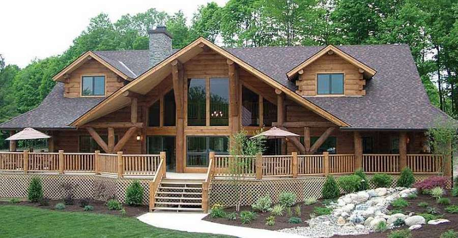 One Of The First Things You Ll Be Noticed About The House Is The Beautifully Designed Front Profile The Large Windows Log Cabin Homes Log Homes Log Home Plans