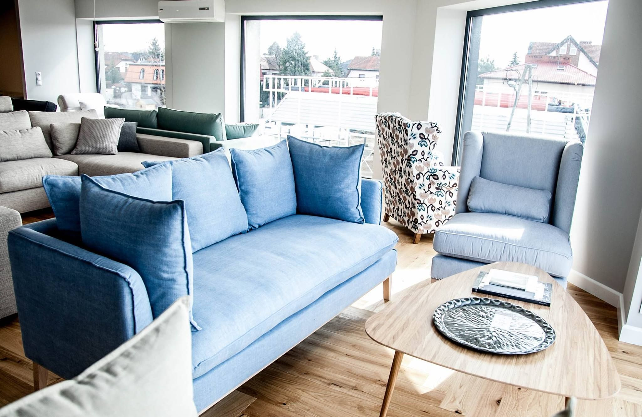 Stylish Scandinavian Sofa in Blue with Armchair, a real mid-century ...
