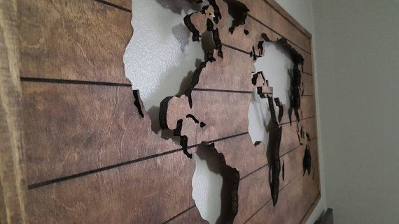 Wood World Map Cut Out.Wood Map Cutout Wooden World Map Stained Wood Map By 302woodworks