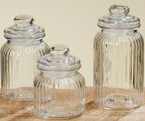 ridged vintage storage jars