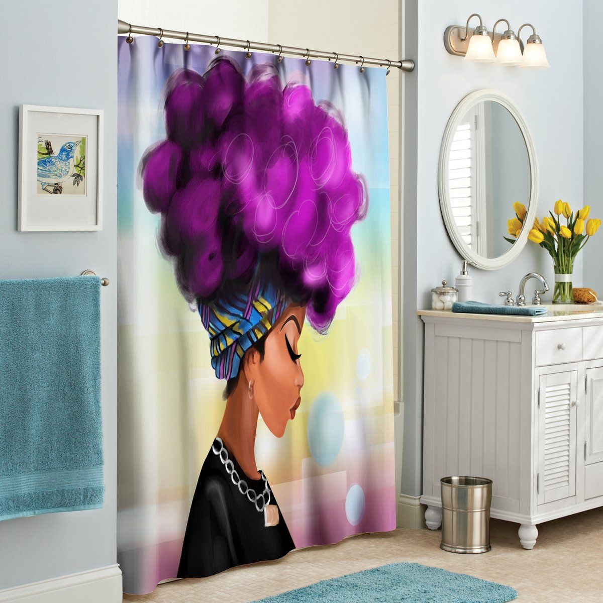 Afro Girl Shower Curtain In 2020 Custom Shower Curtains Afro
